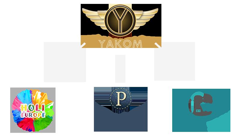 Das Logo von yakom und der Shops.